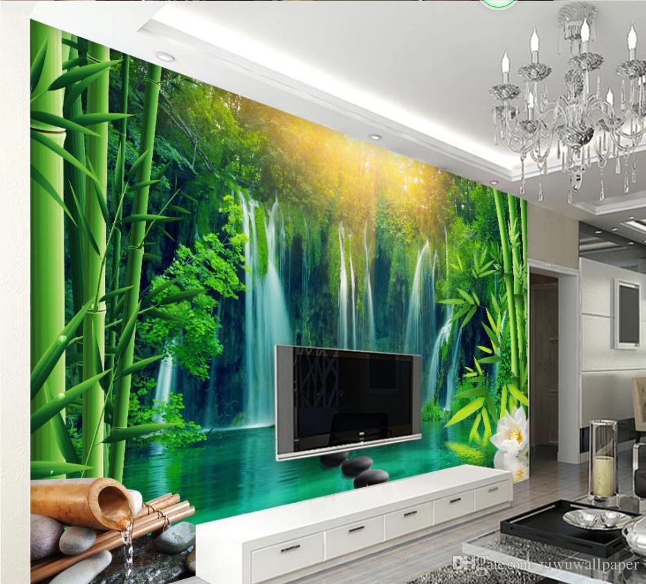 peintures murales Fond d'écran 3D pour le salon simple et le paysage chute d'eau fraîche forêt de bambous mur de fond TV