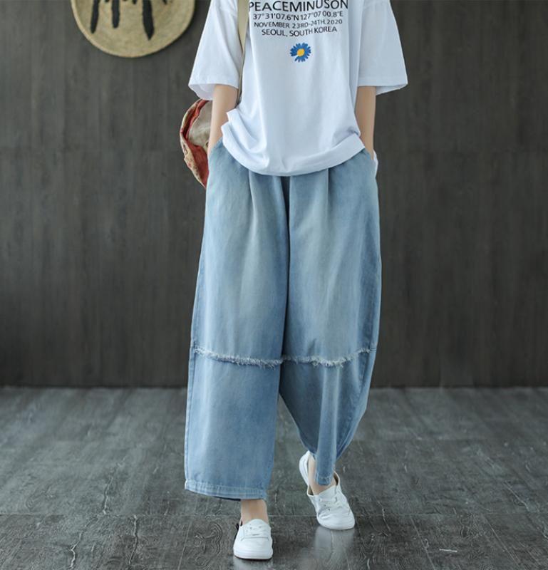 Verano Jeans mujeres elásticos de la cintura retro Pantalones vaqueros 2020 de Nueva Casual empalmado bolsillo suelto pierna ancha Pantalones Vaqueros Mujer