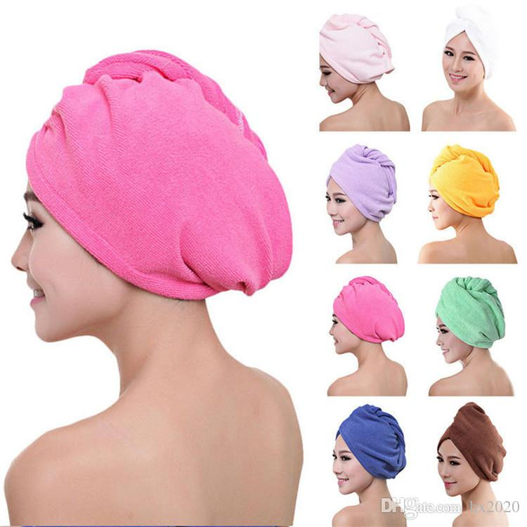 2019 Microfibre After Shower Hair Drying Wrap Womens Girls Lady Towel Quick Dry Hair Hat Cap Turban Head Wrap Bathing Tools ST039