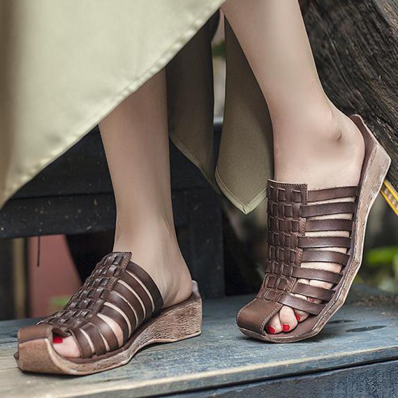 Johnature Натуральная Кожа Тапочки Полосатая Женская Обувь 2020 Новый Летний Ретро Снаружи Слайды Швейные Плоские С Дамскими Тапочками