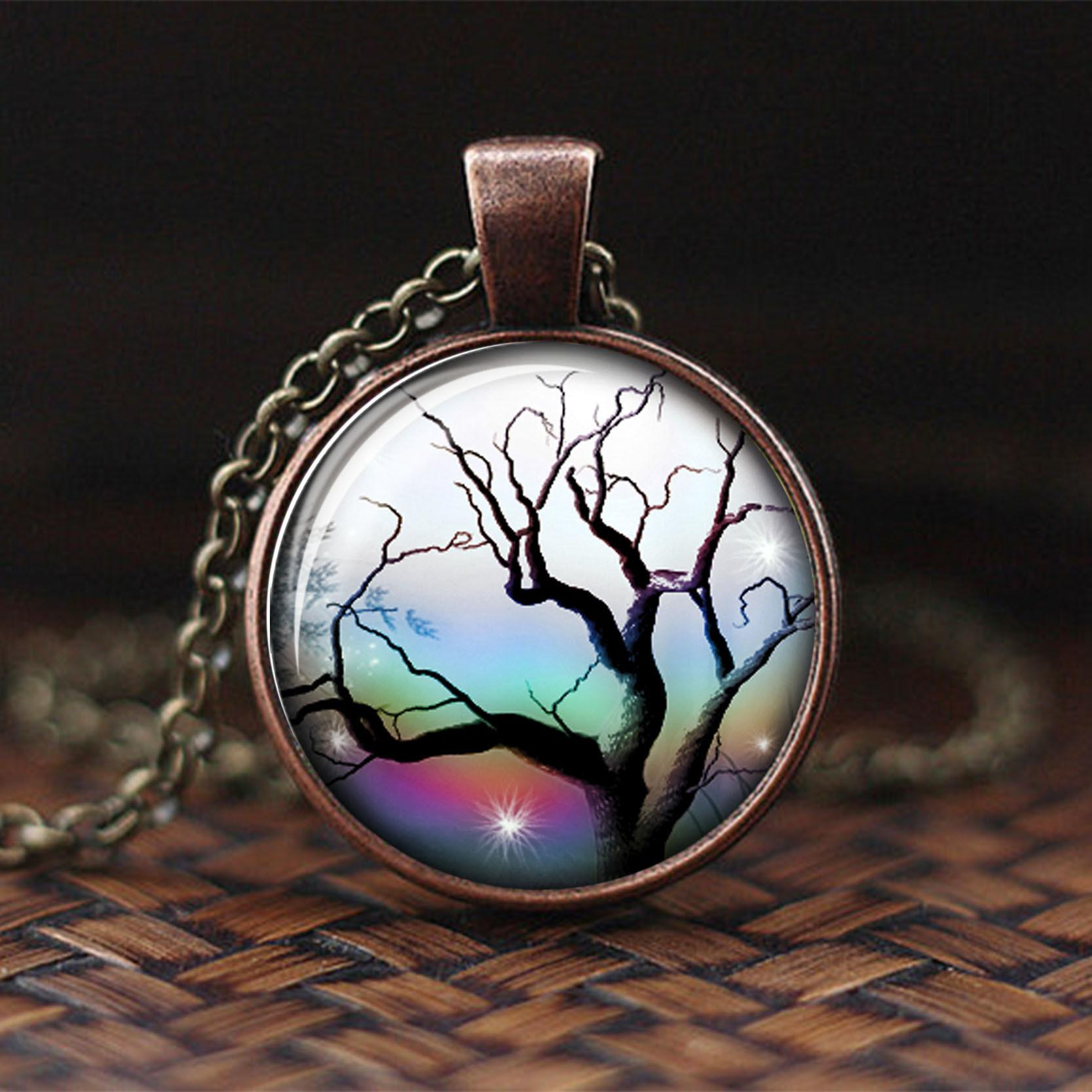 Fashion Life Tree Glass Cabochon Statement Necklace & Pendant Jewelry Antique Red Copper Chain Choker Necklace For Women
