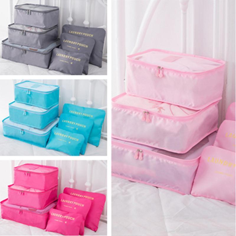 8 ألوان السفر حقيبة ماكياج 6piecs مجموعة ماء التخزين السفر القماش فرز مجموعة حقيبة البرازيلي ملابس داخلية حقائب الأمتعة المنظمون التخزين E11304