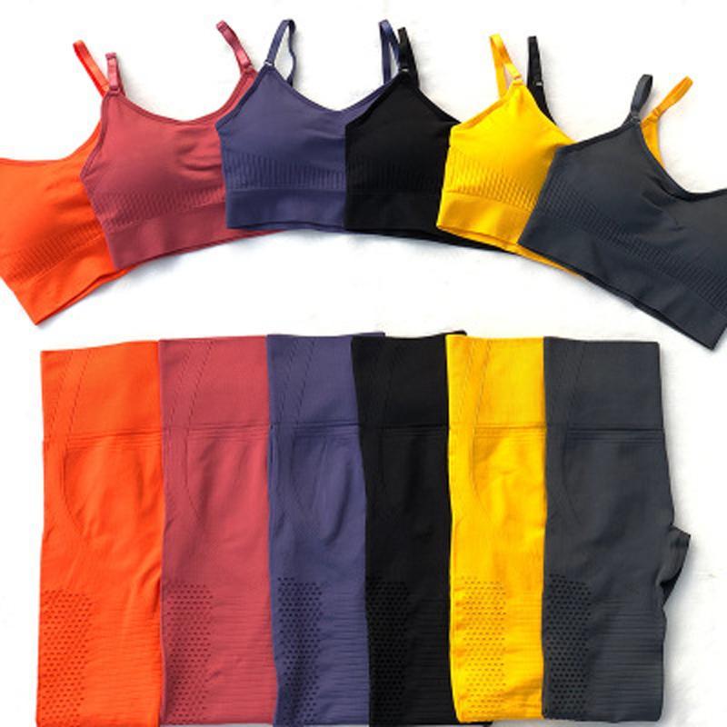 Frauen-nahtlose Sportkleidung Yoga Top Set Gym Bekleidung Fitness Bra + Gamaschen + geerntete Shirts Sport-Klage-Trainingsanzug Active Wear Female Y200328