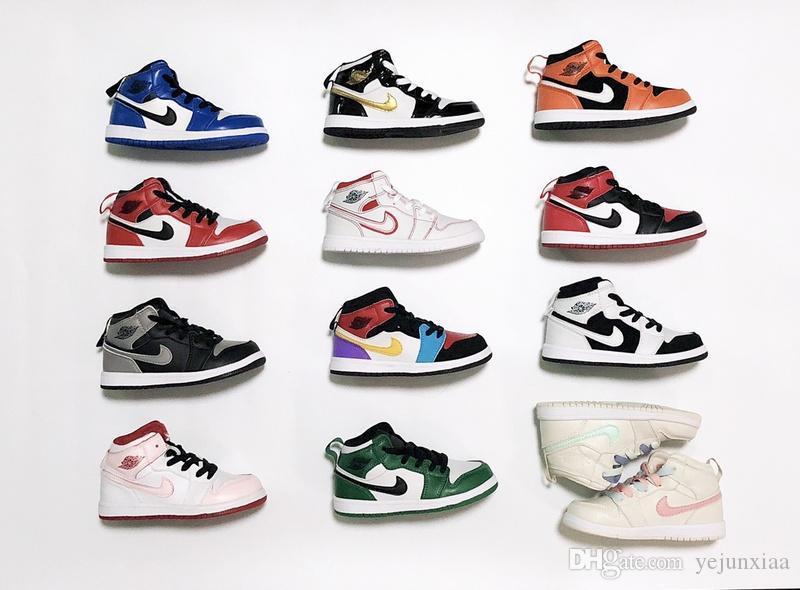 2020 Signed OG 1 1s Gençlik Çocuk Basket Ayakkabısı Chicago Yeni Retro Born Baby Bebek Bebek Eğitmenler Küçük Big Boys Sneaker 28-35