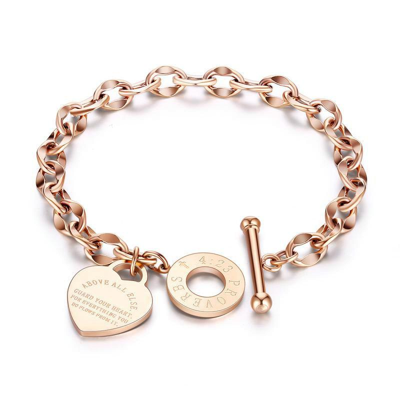 Las pulseras del corazón de la joyería de la gota del envío de las mujeres del amor de Rose pulsera de los brazaletes de acero inoxidable del amor del oro regalo de cumpleaños para