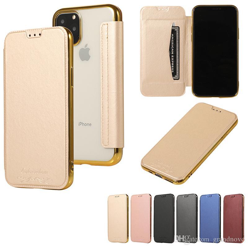 Galvanoplastia folio de cuero del tirón cubierta de la carpeta caso de la galjanoplastia con las ranuras para tarjeta para el iPhone 11 Pro Max XS XR X 8 7 6 Plus Samsung Galaxy S10 E S9
