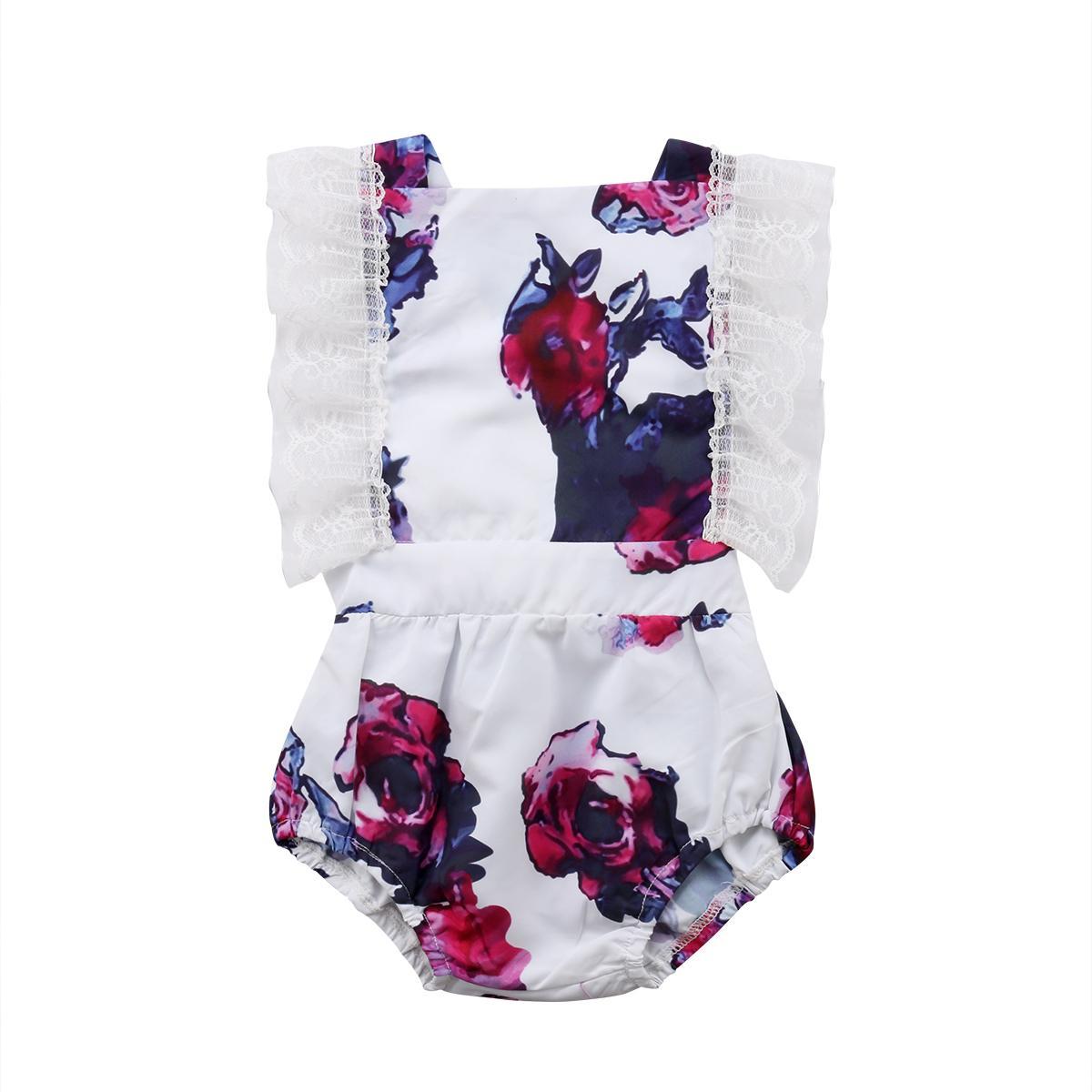 Enfant nouveau-né costume bébé Floral Romper Body manches Jumpsuit Tenues Vêtements Sunsuit