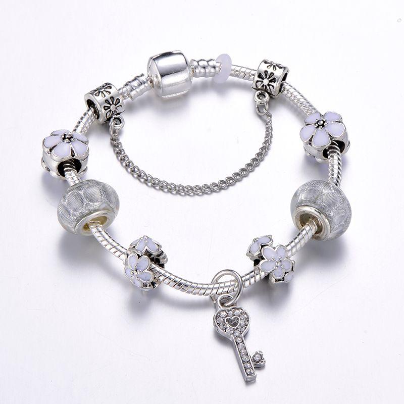 Romantic Love Key Silver Charm Bracelet For Women Fits Pandora Bracelet Women Wedding Jewelry From Ck10 6 66 Dhgate Com