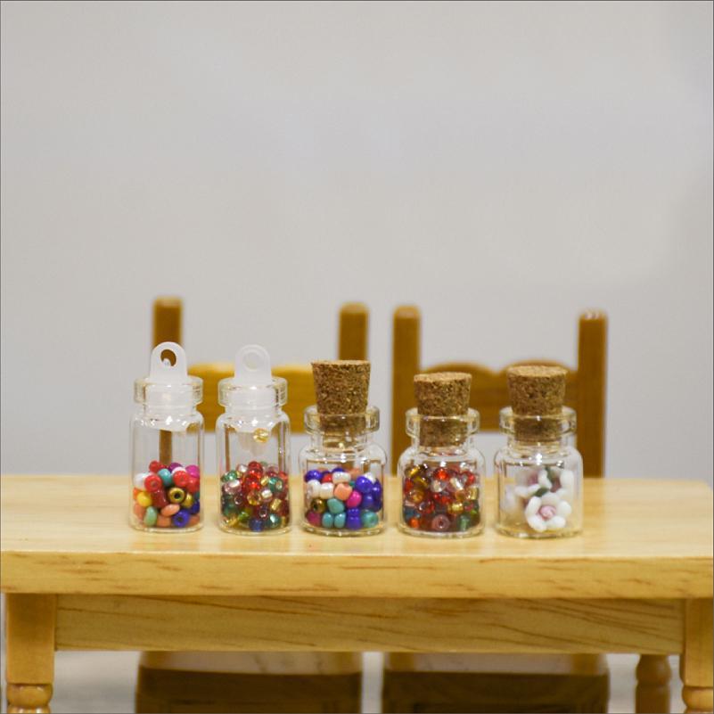 G05-X5090 children baby gift Toy 1:12 Dollhouse mini Furniture Miniature Glass storage bottle 5pcs/set
