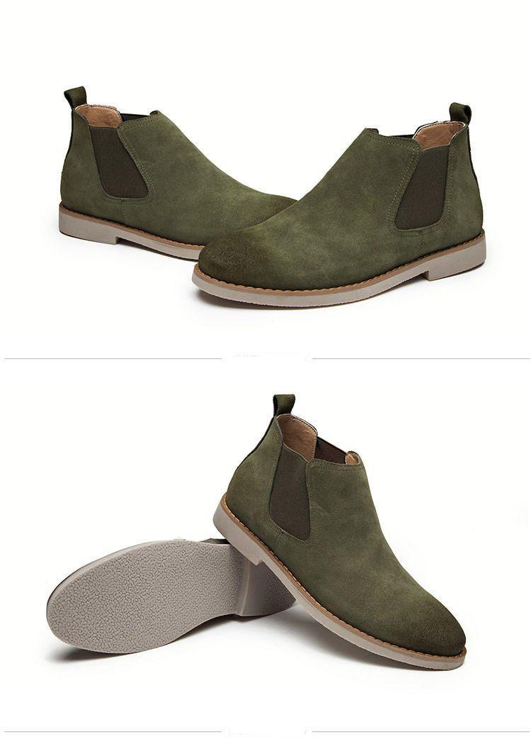 남성 zymb01에 대한 뜨거운 판매-OTS 남자 스웨이드 가죽 신발 잉글랜드 스타일의 탄성 브레이드 신발