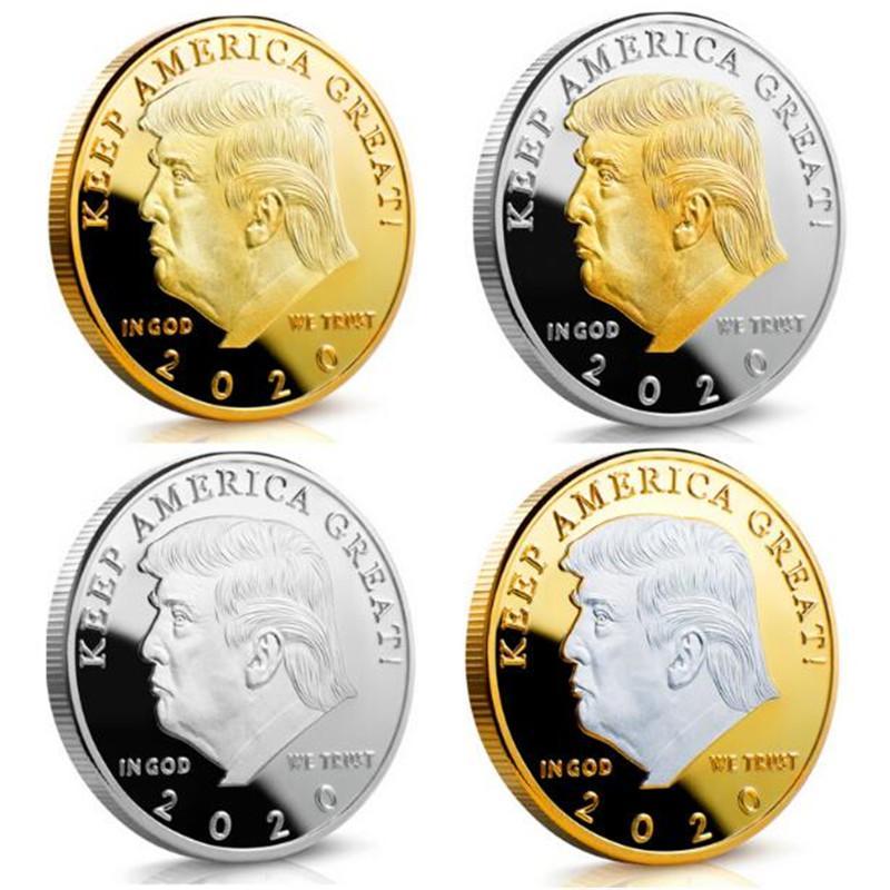 Памятные монеты сувенирной монеты крафт-ремесла 2020 года Американский 45-й президент Дональд Золотой серебряный металлический значок