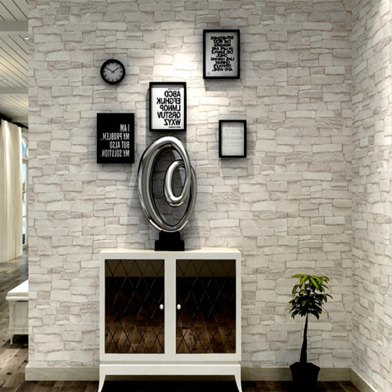 كريم الأبيض رمادي خمر حجر الطوب للجدران على الجدران لفة فو 3D خلفيات رائعة لغرفة المعيشة مطعم غير المنسوجة ورق الجدران