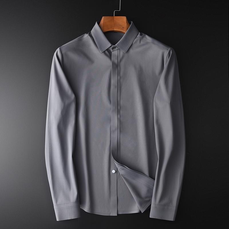 Katı Renk Erkek Gömlek Lüks Uzun Kollu Gri Mavi Erkek Gömlekler Sonbahar Ve Kış İnce Gömlek Plus Size 4XL