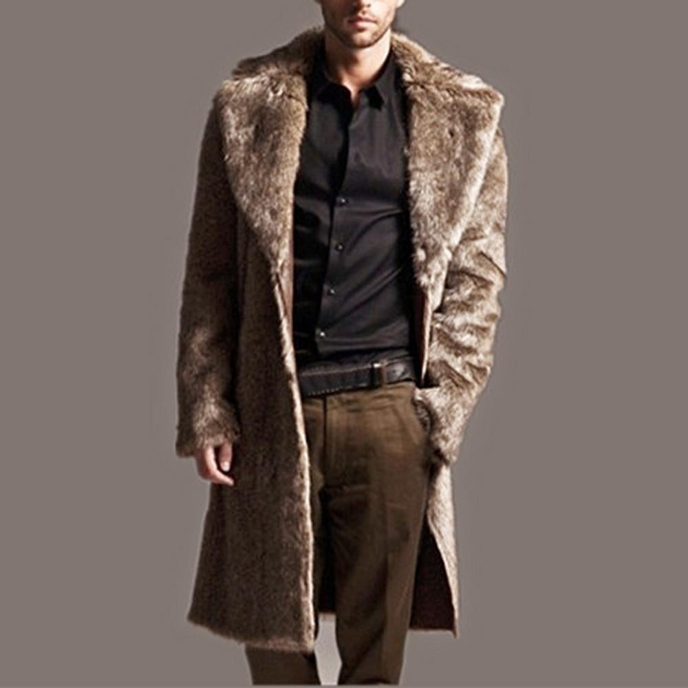 Mens Warm Plus Thickening Long Coat Jacket Faux Fur coat men Parka Outwear Cardigan long faux leather men abrigos piel homb
