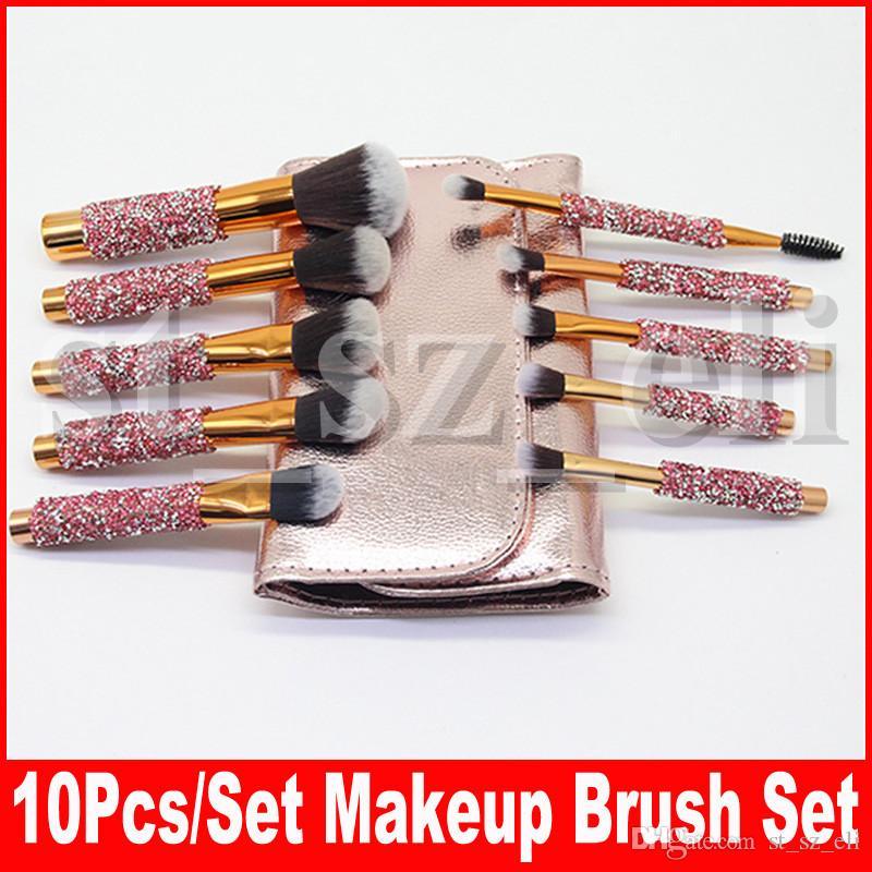 10 pçs / set cravejado de diamantes maquiagem pincéis definir rosto make up brush fundação profissional corretivo sombra maquiagem ferramentas com saco
