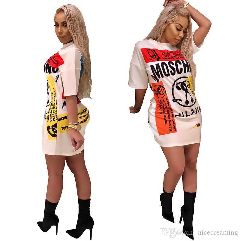 Nuovo arrivo vestiti estate del vestito manica corta delle donne dello stilista di marca T-shirt vestiti da alta qualità Abbigliamento Top Gonna hotsell
