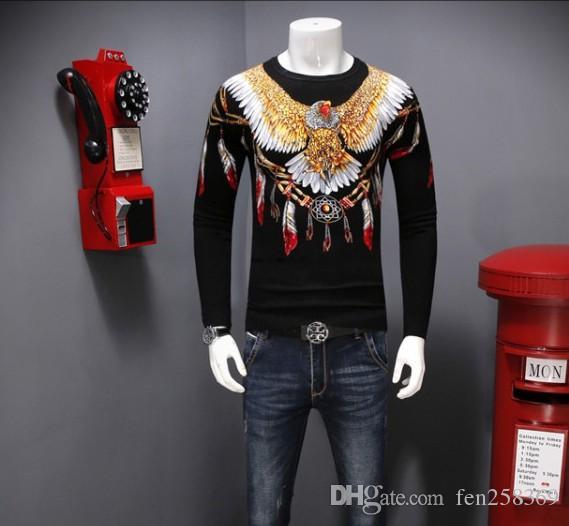 2019 с длинными рукавами свитера футболки мужской корейская версия тенденции личность EAGLE ПРИНТ мужским тонкого тонкого свитера