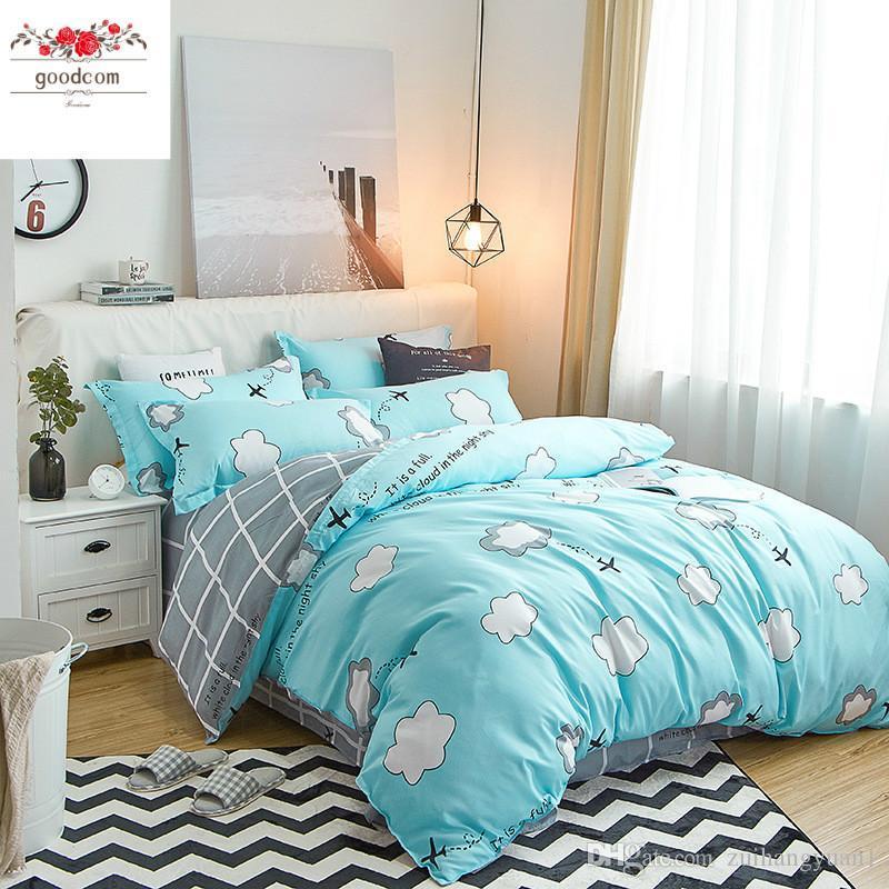 Ropa de cama de lujo juegos de cama de cuatro piezas suave cama cubierta de la cama Almohadas hoja y cómodo con cremallera para facilitar el rey de limpieza