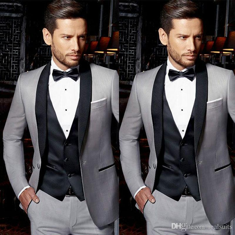 Light Grey Groom Tuxedos Men Suits for Wedding Black Vest Satin Shawl Lapel Best Man Blazer 3Piece Latest Coat Pant Designs Terno Masculino