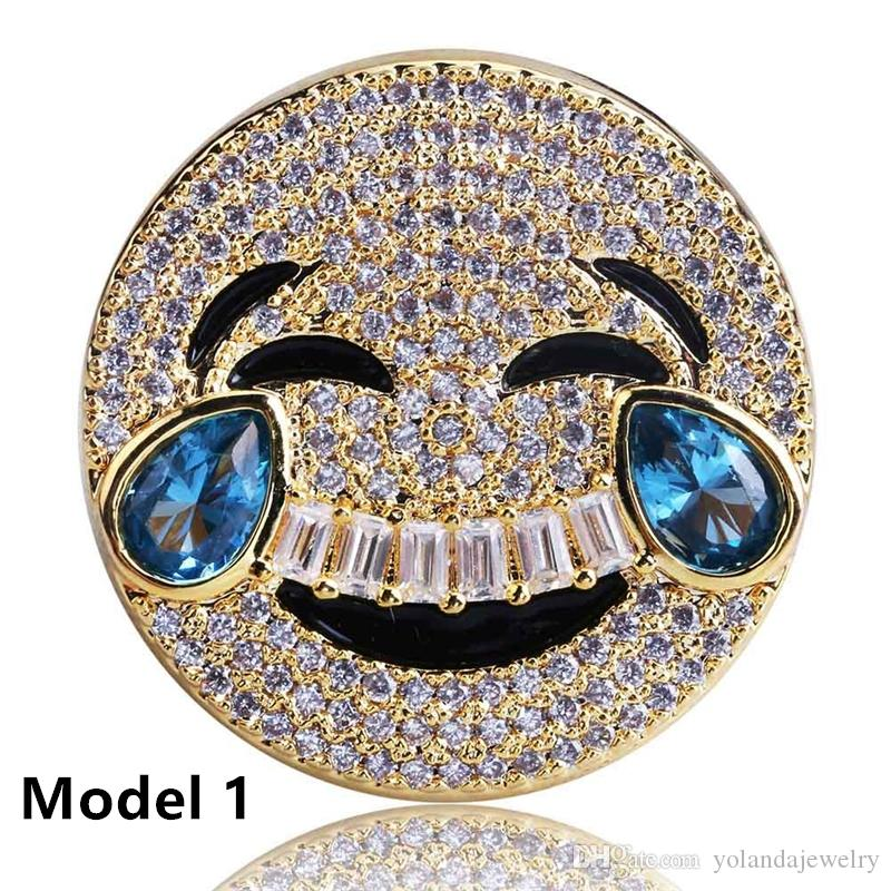 Men Iced Out Bling Rings Yellow White Gold Plated Micro Pave Cubic Zirconia Simulated Diamonds Cuabn Ring for Men