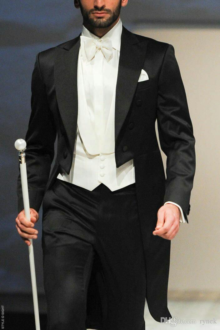 Italian Black Tailcoat Groom Tuxedos Men Suits for Wedding Man Suits Blazers Morning Dinner 3 Piece Groomsmen Wear Formal Evening Party