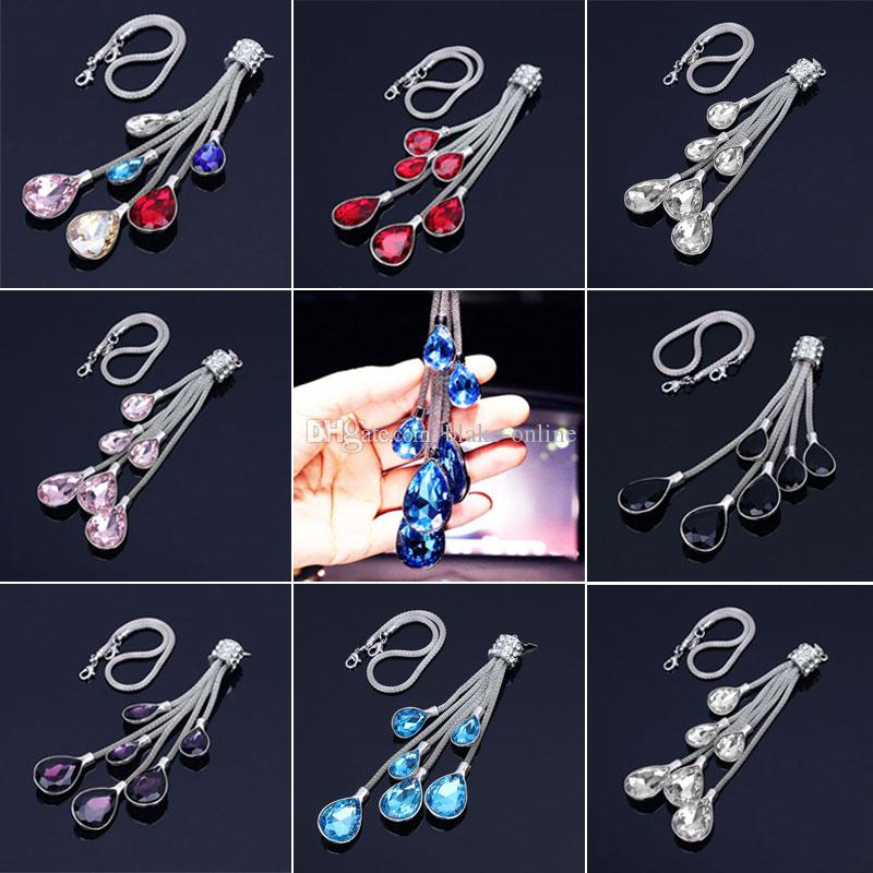 Car Pendant Hanging Crystal Auto Interior Accessories Decoration Rear View Mirror Ornament Fashion Charms Gift 8 Colors