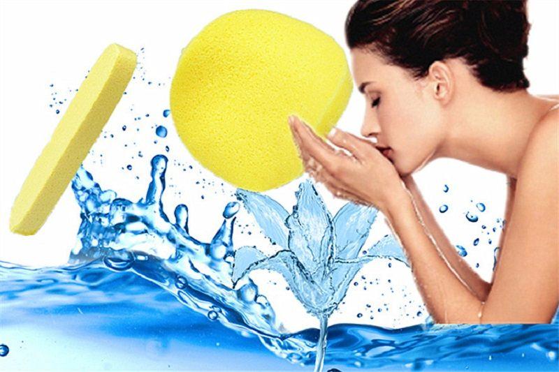 Venta caliente Suave Comprimido Esponja de Limpieza Facial Esponja Lavado Facial Almohadilla de Limpieza Exfoliante Cosmético Puff Cara Limpieza Puff