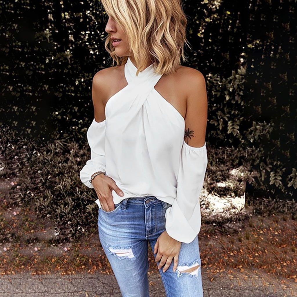 Moda Katı Halter Bluz Kapalı Omuz Casual Sonbahar Bayanlar Gevşek Alt Kadın Kadınlar Uzun Kollu Gömlek blusas Pullover Tops