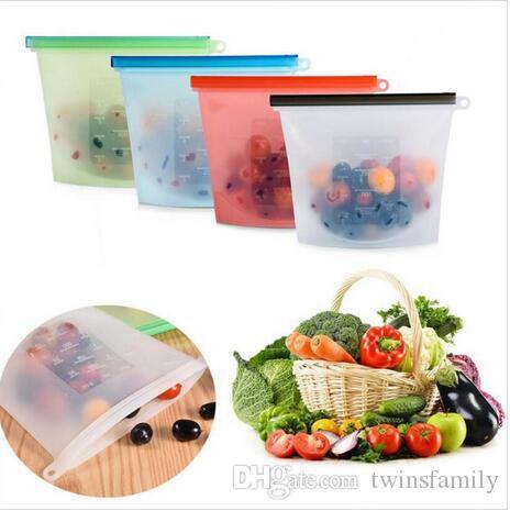 Silikon Gıda Taze Çanta Yeniden kullanılabilir Buzdolabı Gıda Saklama Kapları Buzdolabı Gıda Airtight Mühür Koruma Çantası Ev Kilitli Çanta 4 Renk ZYQ396