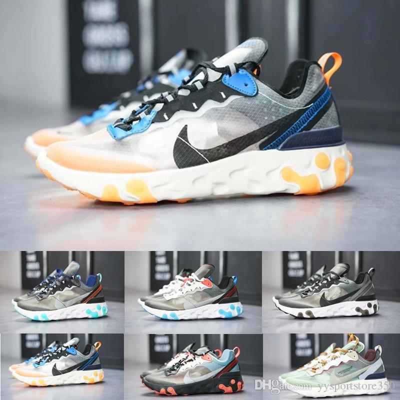 nike Epic React Element 87 Casual Shoes Hot Original Epic Undercover Respirant fil de maille Femmes Mens Free ship Taille US 5.5-11 React Element 87 A4185