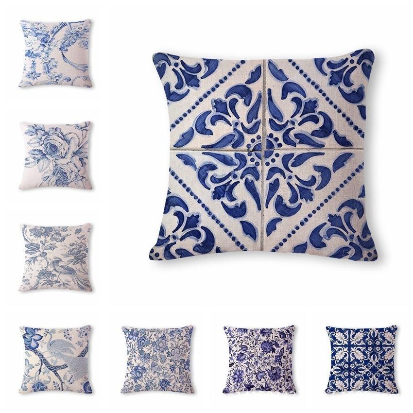 Dekokissen Santorini Mit Blau Weiss Muster 50 X 50 Cm 9