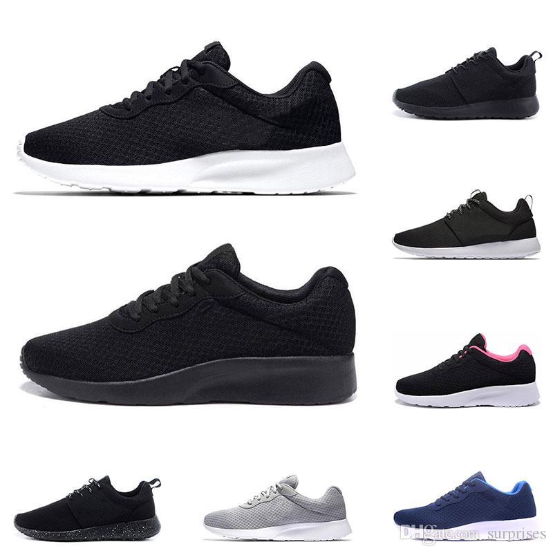 새로운 Tanjun 실행 남성 여성 검은 색 낮은 가볍고 통기성 런던 올림픽 스포츠 스니커즈 운동화 크기 36-45를 위해 신발을 실행