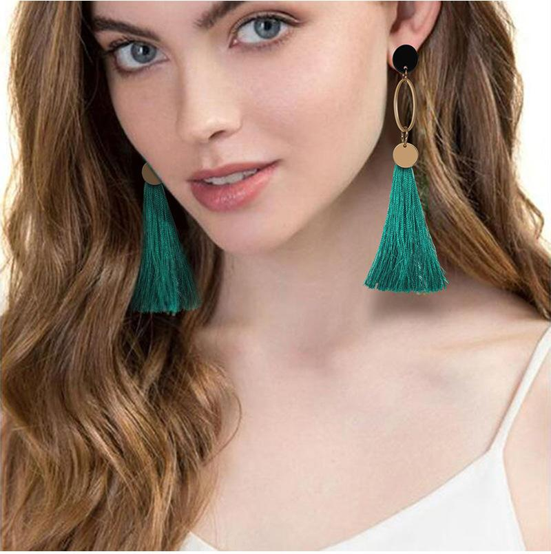 Irregular geometric tassel earrings women's color protection anti-allergy color mixed batch earrings