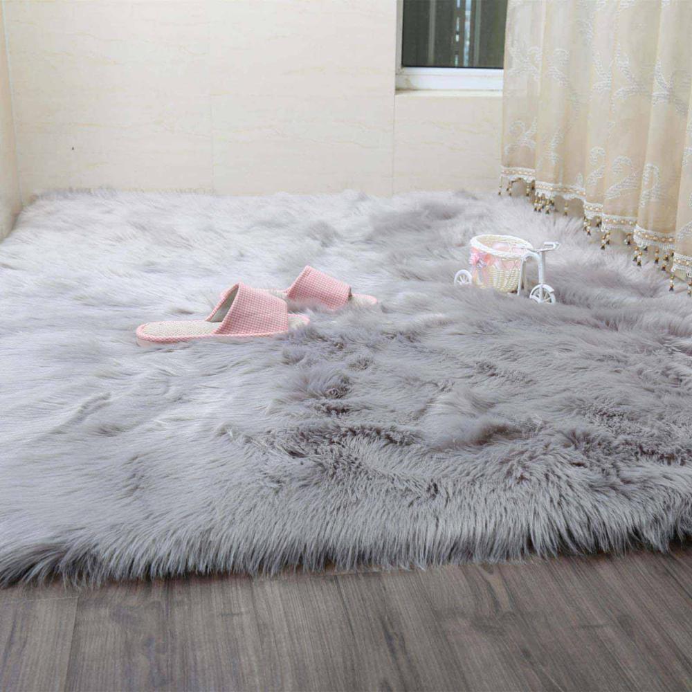 SimanFei Hairy Teppiche Neue Schaffell-Plain-Pelz-Haut flaumig Schlafzimmer Faux-Matten waschbar künstliche Textilbereich Square Teppiche