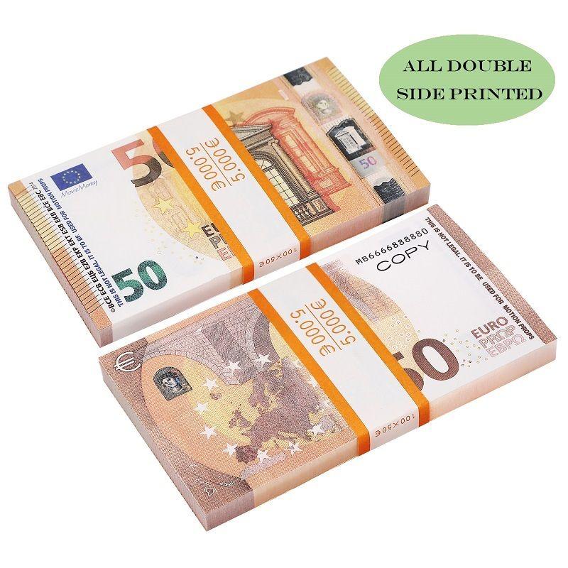 Movie Money Money Faux Buill Toys USA 20 50 100 доллар Евро Оп Банкнота для детей Рождественские подарки или видеопленка