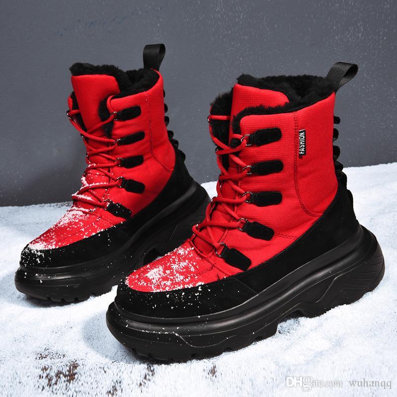 Men boots winter shoes men ankle boots Waterproof Non-slip warm plush flat men snow boots
