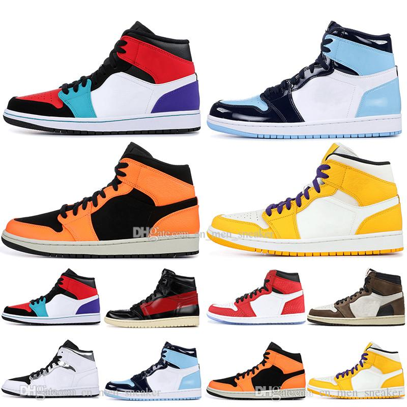 Günstige 1 OG Travis Scotts Basketballschuhe Herren Damen Spiderman Chicago UNC Rookie des Jahres Multi-Color Herren Sport Designer Sneakers
