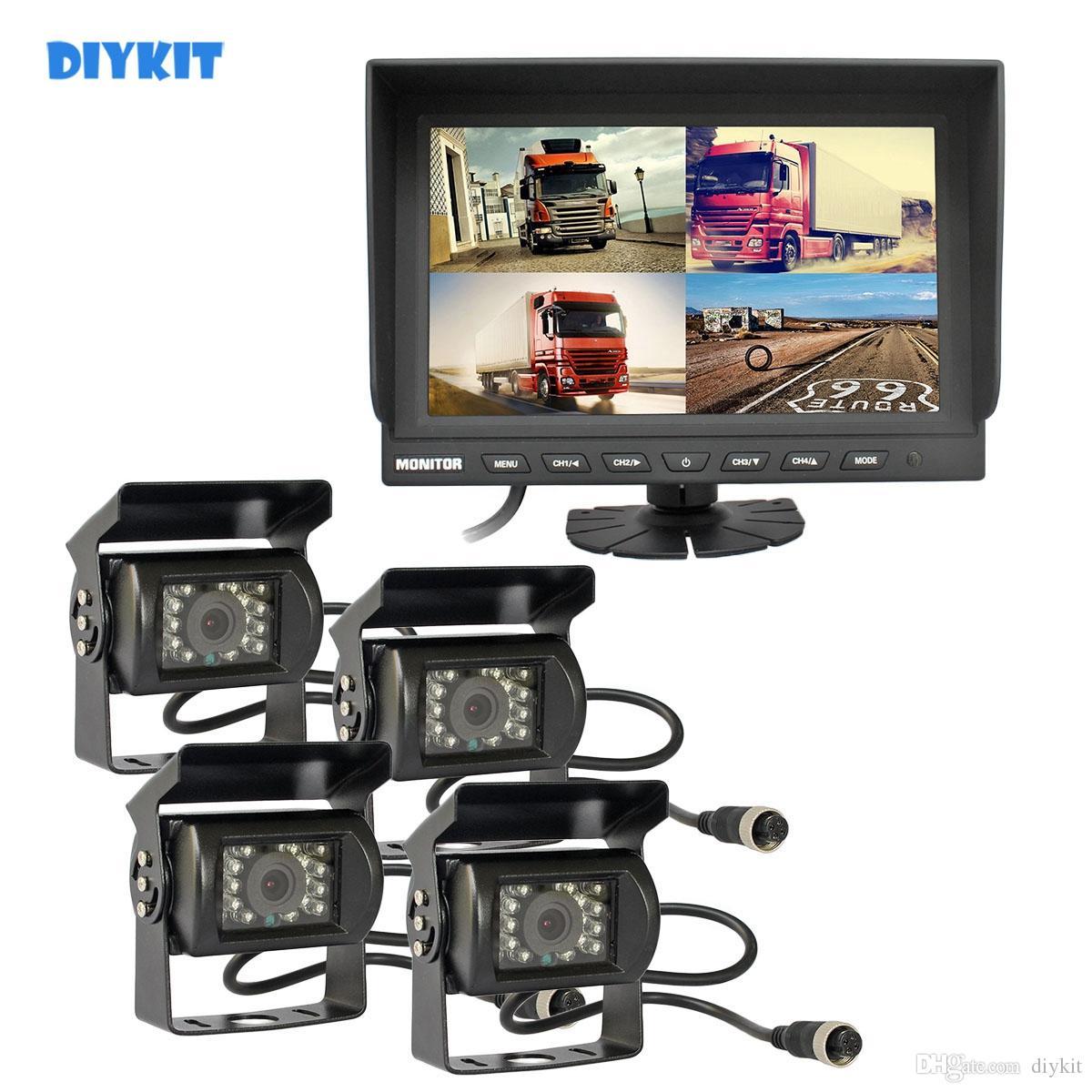 """DIYKIT 9"""" Split QUAD monitor di retrovisione dell'automobile monitor + 4 x CCD IR di visione notturna impermeabile macchina fotografica dell'automobile Video Security Monitoring System"""