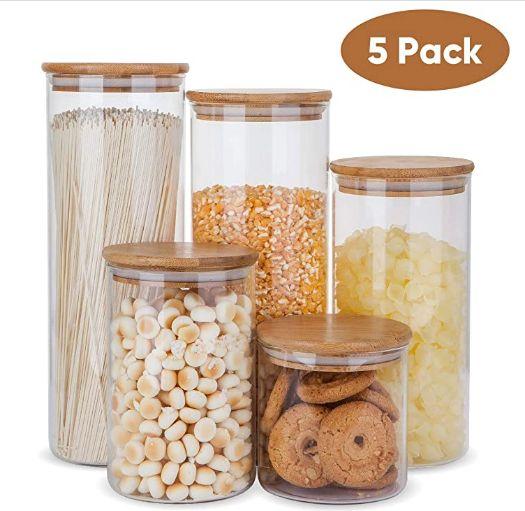 Armazenamento de Alimentos vidro Contentores Set, Airtight Food Jars com bambu tampas de madeira - conjunto de 5 Kitchen Vasilhas do Açúcar, Bombom, Bolacha, arroz e