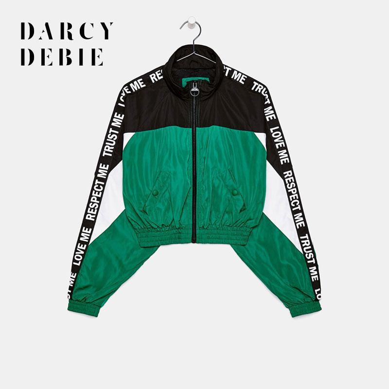 Darcydebie Donne Patchwork Coat Zipper Turn-down Collar Lettera Pocket autunno Outweater allentato cappotto casuale Preppy Style