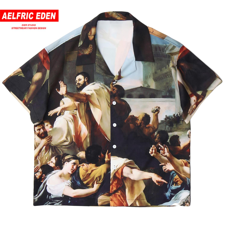 Aelfrico Eden Pintura camisa de la impresión de los hombres de moda casual camisa de algodón de manga corta de verano de Harajuku de Hip Hop de Calle tapas flojas CX200619