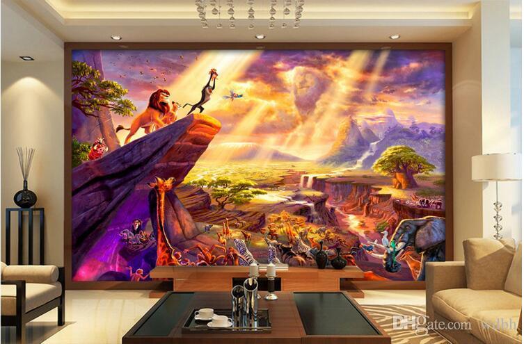 Kundenspezifisches Foto 3d Tapete Hand gezeichnetes Märchenlöwe-Ölgemälde-Hintergrundwohnzimmer Hauptdekor Wand 3d muals Wandpapier für Wände 3 d