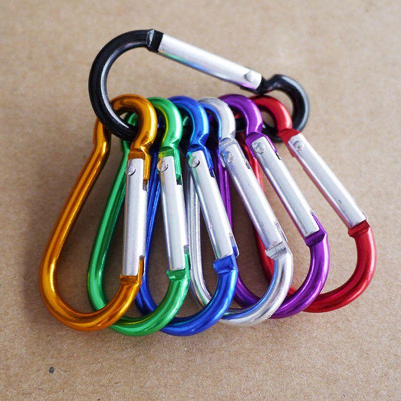 5pcs Colorful Aluminum Alloy R Shaped Carabiner Keychain Hook Spring Snap Clip Camping Hiking Climbing Accessory Kits