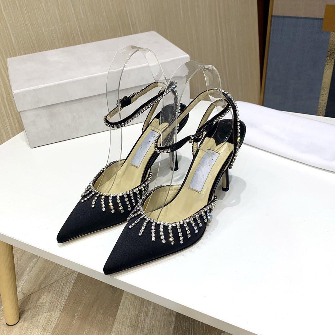 Кристалл высший сорт новая натуральная кожа высокий каблук 6,5 см старинные Женские сандалии темперамент элегантные женские дизайнерские туфли роскошь