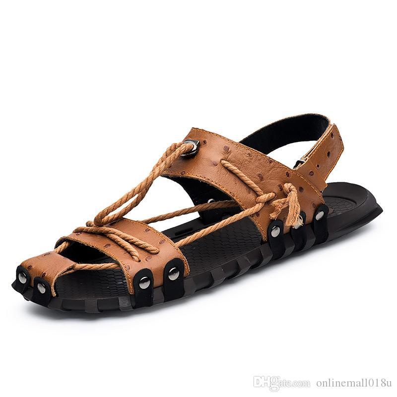 Men Genuine Leather Sandals Shoes Closed Toe Leather Male Sandal Summer Beach Men Shoes Flats Men Sandals
