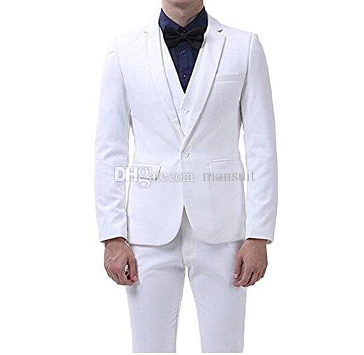 신착 Groomsmen 노치 옷깃 신랑 턱시도 백인 남성 정장 웨딩 / 댄스 파티 / 디너 Best Man Blazer (자켓 + 바지 + 조끼 + 넥타이) M1015