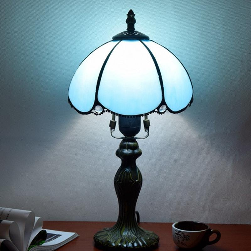 미국 간단한 파란색 테이블 램프 티파니 스테인드 레트로 유리는 작은 테이블 lampTF071 침대 옆 방 거실 침실을 살고 호텔 바 조명