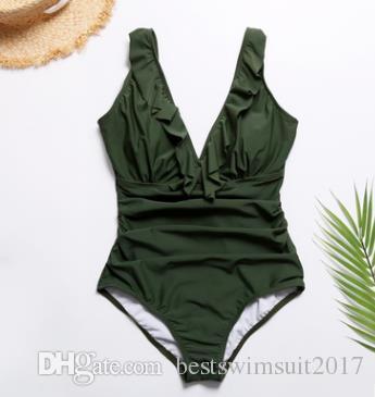 2019 Sexy Ruffles traje de baño traje de baño de una pieza para las mujeres de corte alto monokini monos bañistas ejército verde traje de baño traje de baño señora ropa de playa