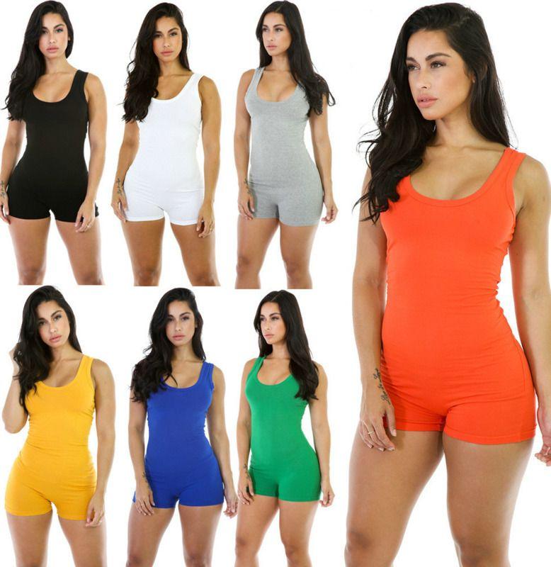 Designer donne tuta sexy del pagliaccetto la tuta aderente profondo scollo a V Pantalone corto senza maniche serbatoio Sporting Suit Feminino Playsuits T52
