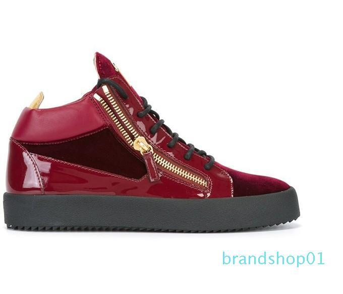 Sıcak Satış-2019 Gerçek Deri Düz Günlük Ayakkabılar Altın Fermuar Erkekler ve Kadınlar Yüksek yardım Sneakers Eğitmenler 35-47